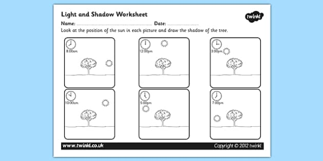 Light And Shadow Worksheet