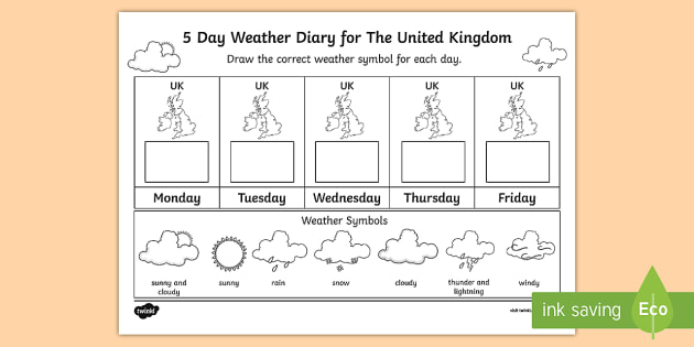 5 Day Weather Diary For The United Kingdom Worksheet   Activity Sheet