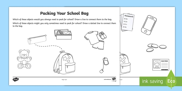 Packing Your School Bag Worksheet   Activity Sheet