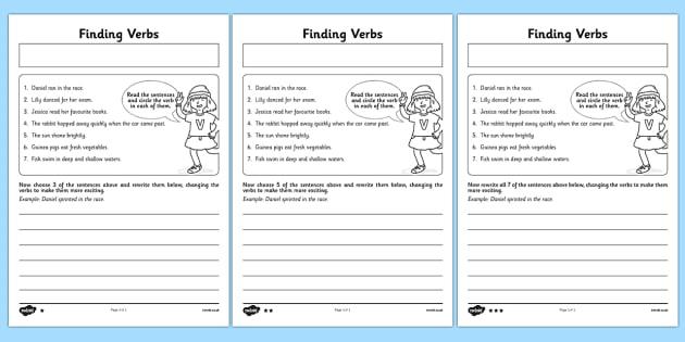 Finding Verbs Worksheet   Activity Sheet