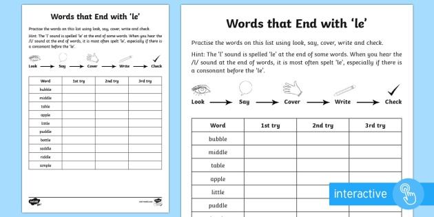 Year 2 Spelling Practice 'le' Endings Activity Sheet