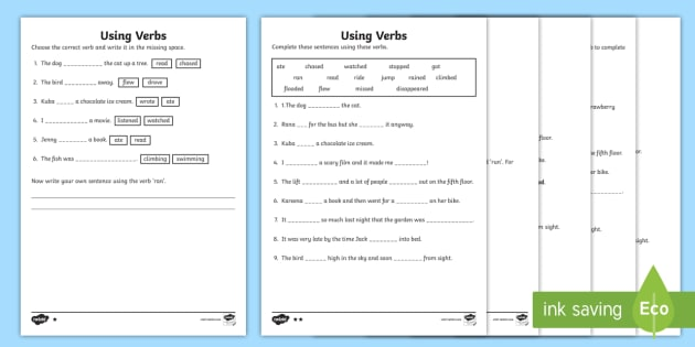 Ks1 Using Verbs Differentiated Worksheet   Activity Sheet