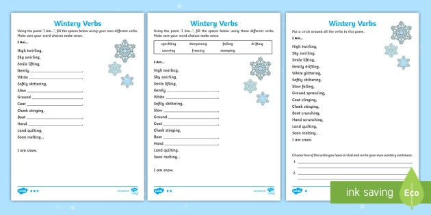 Ks1 Wintery Verbs Based On I Am Poem Differentiated Worksheet