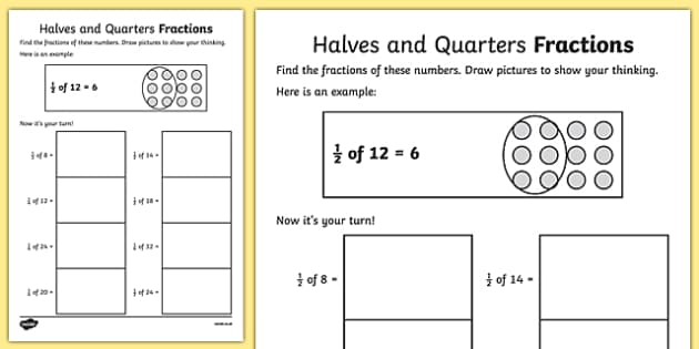 Halves And Quarters Fractions Activity Sheets
