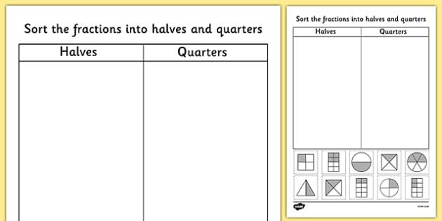 Fractions Halves And Quarters Sorting Worksheet   Activity Sheet