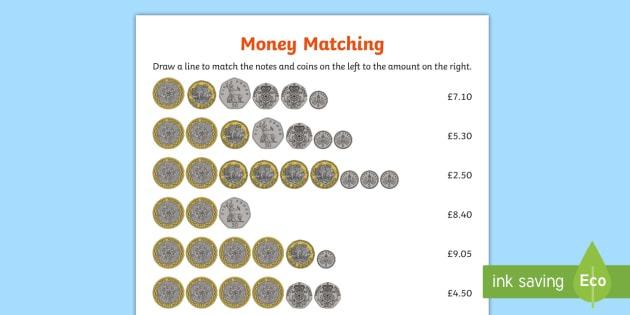 Uk Money Matching Worksheet   Activity Sheet