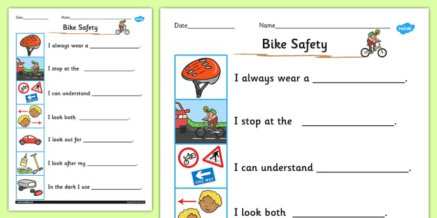 Keeping Myself Safe When Cycling Safety Worksheet   Activity Sheet