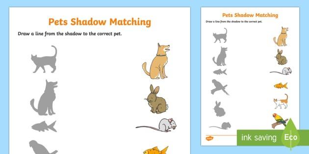 Pets Shadow Matching Worksheet   Activity Sheet