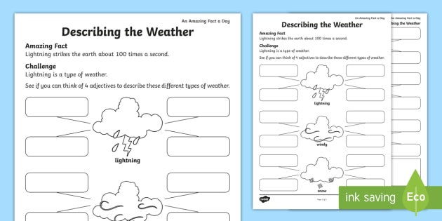 Describing The Weather Worksheet   Activity Sheet