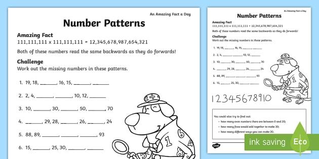 Number Patterns Worksheet   Activity Sheet