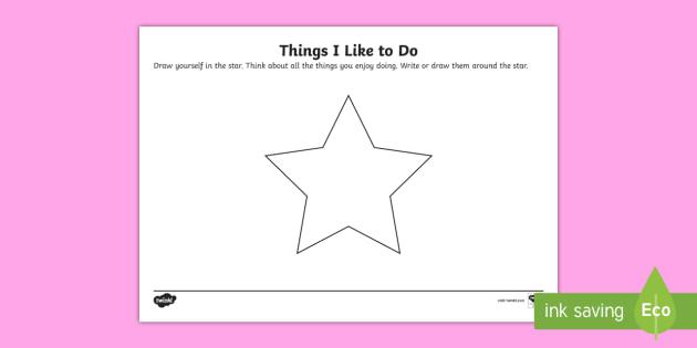 Year 1 Things I Like To Do Worksheet   Activity Sheet