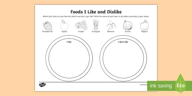 Foods I Like And Dislike Worksheet   Activity Sheet