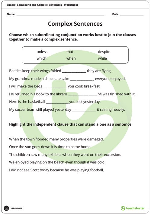 Simple, Compound And Complex Sentences Worksheet Pack Teaching