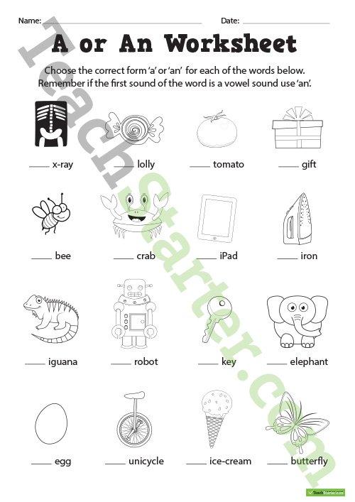 A Or An Worksheets Teaching Resource – Teach Starter