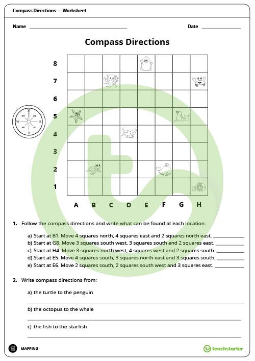 Compass Directions Worksheet Teaching Resource – Teach Starter