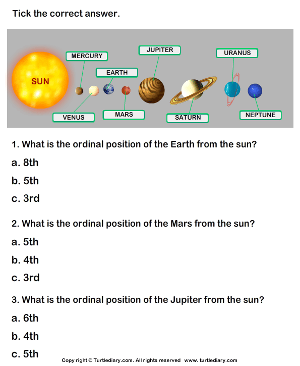 The Solar System Facts Worksheet