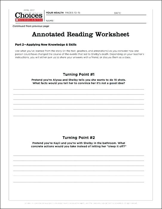 To Use It Distribute The Two Part Annotated Reading Worksheet