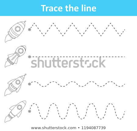 Trace Line Worksheet Preschool Kids Rockets Stock Vector (royalty