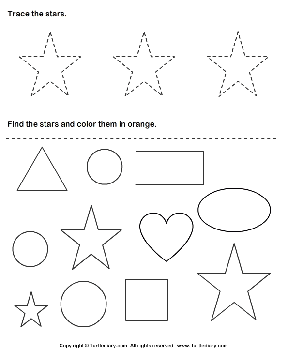 Trace Stars And Color Them Worksheet
