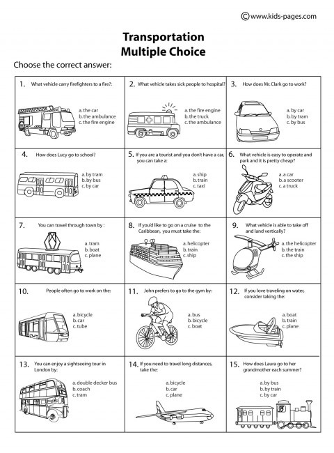 Transportation Multiple Choice B&w Worksheet