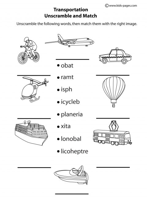 Transportation Unscramble B&w Worksheet