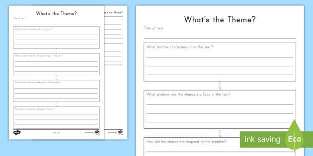 What's The Theme  Worksheet   Activity Sheet
