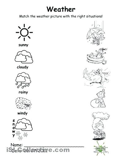 Weather Worksheets Preschool Weather Worksheets A Sunny Day