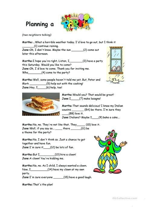 Will And Going To Reading Comprehension Worksheet Free Esl