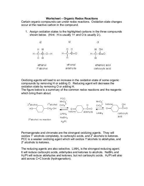 Worksheet – Organic Redox Reactions Certain Organic Compounds
