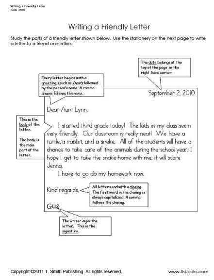 Friendly Letter Worksheet Set