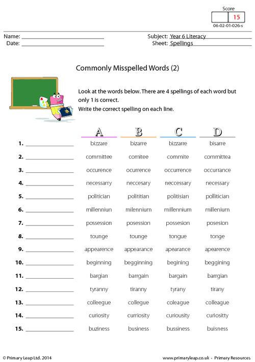Commonly Misspelled Words (2)