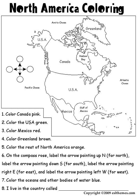 Printable Picture Of North America