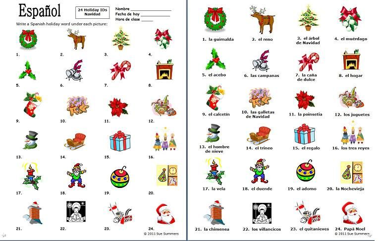 Spanish Christmas Vocabulary 24 Image Ids Worksheet By Sue Summers