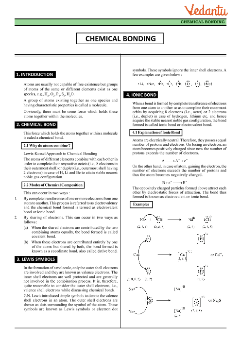 Class 11 Chemistry Revision Notes For Chapter 4