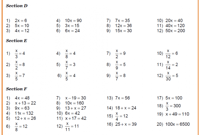 Solving Linear Equations Worksheets From Level 4