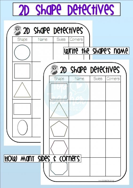 2d Shape Detectives Worksheets