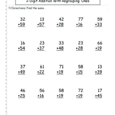 2nd Grade 2 Digit Addition Worksheets