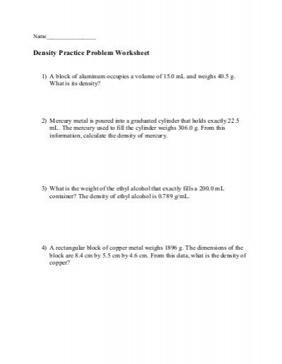 Density Practice Problem Worksheet