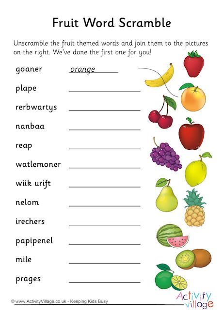 Fruit Word Scramble