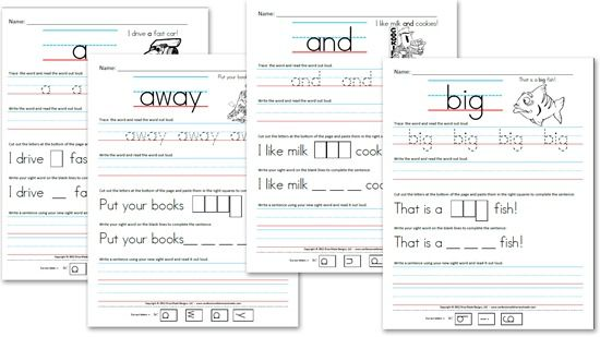 Free Kindergarten Worksheets  Sight Word Sentences (pre