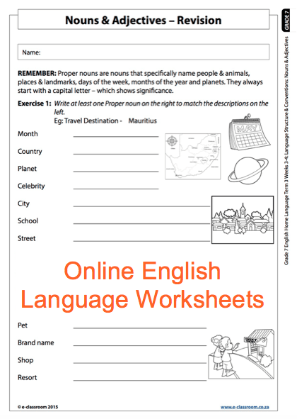 Grade 7 Online English Language Worksheets, Nouns And Adjectives
