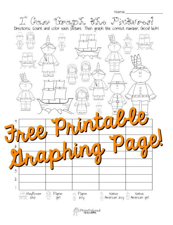 Free Thanksgiving Graphing Worksheet (kindergarten, First Grade
