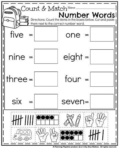 Back To School Kindergarten Worksheets