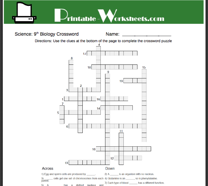 Free Biology Worksheets! Parents Can Also Help Students To Learn