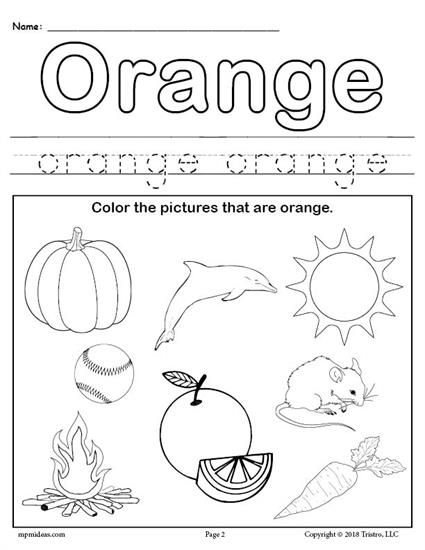 Free Color Orange Worksheet