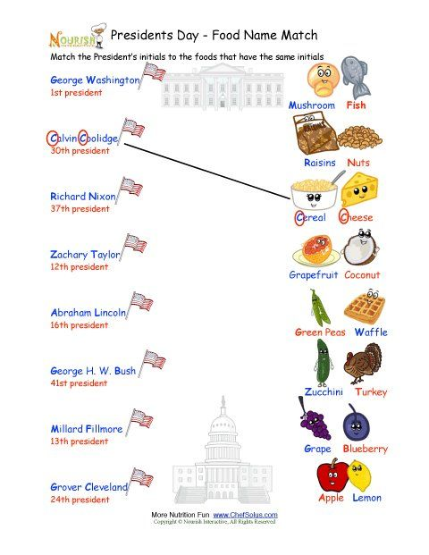 Holiday 3 President's Day Matching Names Worksheet