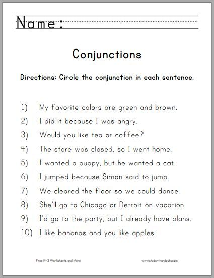 Circle The Conjunctions Worksheet For Grade One
