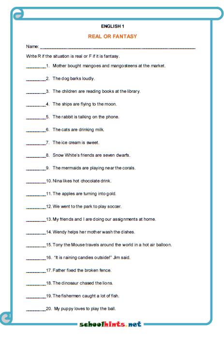 Real Or Fantasy Worksheet