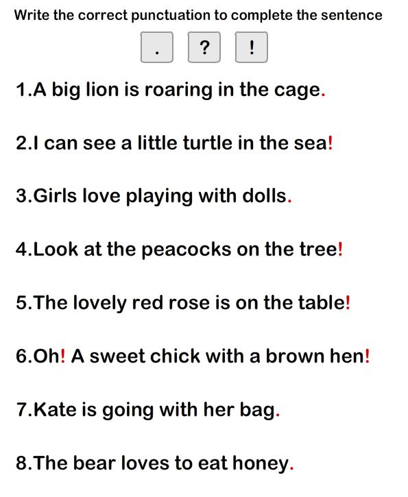 Simple Sentence Worksheet9