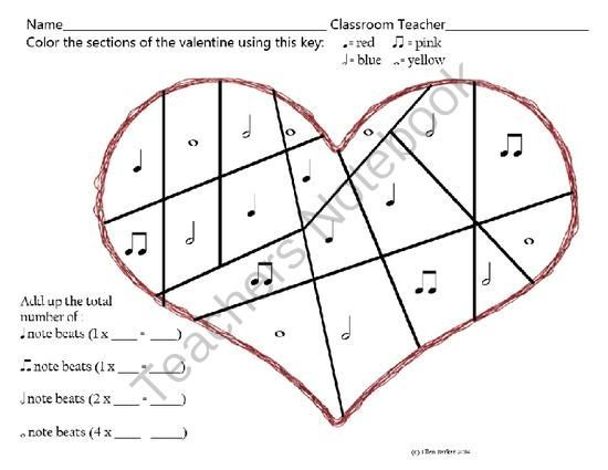 Free Valentine Beats Worksheet From Miss Barker's Musical